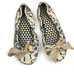 ISABEL MARANT Gray Python Ballet Flats Bow Detail